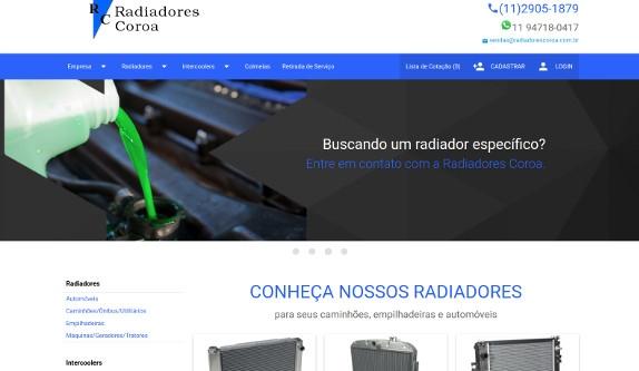 Sites focados em Site - Radiadores Coroa